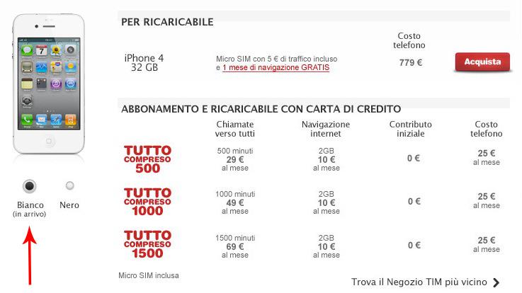 Continuano le 'apparizioni' dell'iPhone 4 bianco: ora anche sul sito di TIM