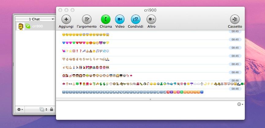 OSX Lion supporta la visualizzazione delle Emoji
