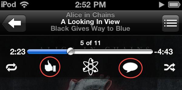Su iOS 4.3, Apple ha integrato Ping all'interno dell'applicazione iPod attraverso due nuovi pulsanti.