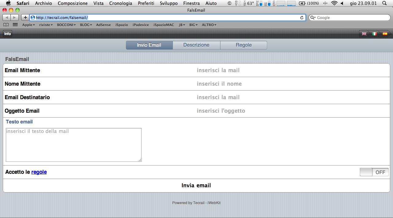 FalsEmail: Una WebApp gratuita per inviare email con mittente personalizzato.