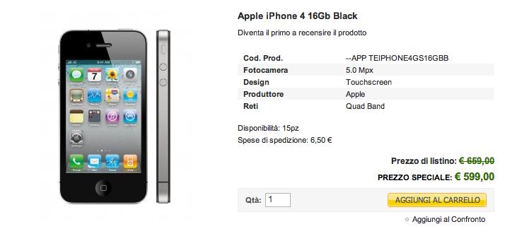 iPhone 4 16 GB in offerta su Electronics a 599 euro