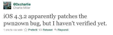 iOS 4.3.2 potrebbe aver risolto il bug trovato da Charlie Miller