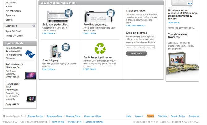 Apple ha modificato le condizioni per rimborsi e resi dei prodotti acquistati sullo store online