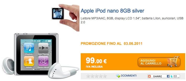 iPod Nano da 8GB in offerta su MarcoPolo Shop!