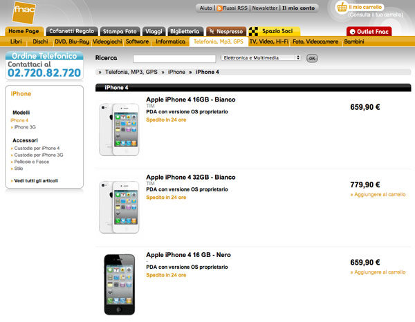 iPhone 4 disponibili su Fnac.it in 24 ore