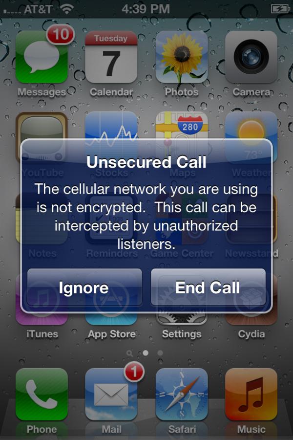 MuscleNerd: tra le novità di iOS 5 spunta un popup che rileva le chiamate non protette.