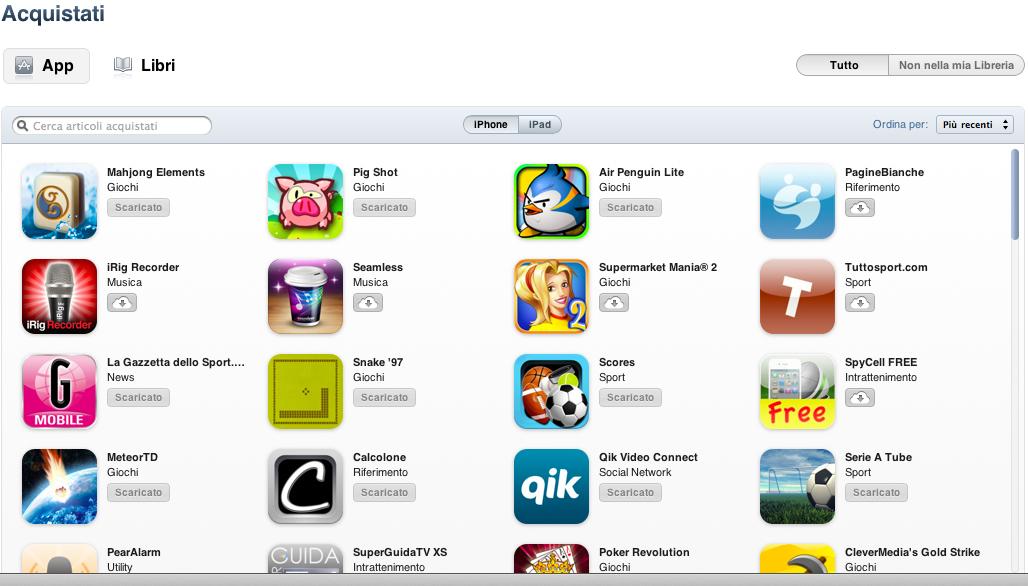 """iSpazio vi presenta la funzione """"Acquisti"""" di iTunes: basta un click per scaricare tutte le apps che abbiamo scaricato in passato"""