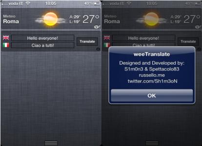 WeeTranslate: Google Translate nel centro notifiche | Cydia