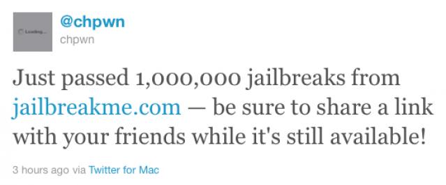 Jailbreakme.com ha sbloccato 1 milione di dispositivi in un giorno!