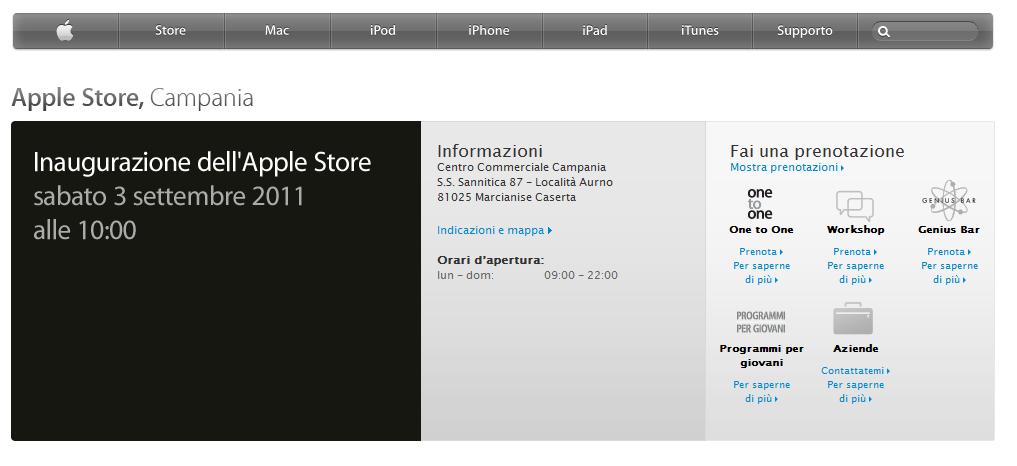 Apple annuncia ufficialmente sul proprio sito l'apertura dell'Apple Store a Caserta!