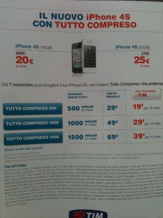 Ecco i prezzi Tim per prendere l'iPhone 4S in abbonamento