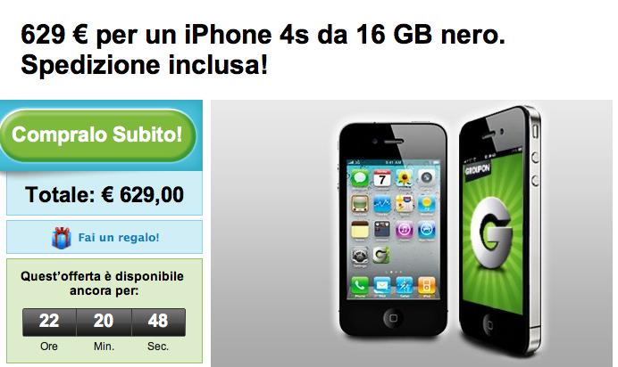 Su Groupon iPhone 4S nero da 16 GB a 629€, spedizione inclusa