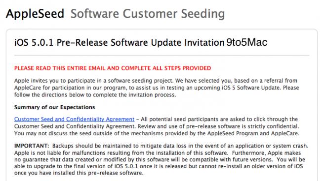 Apple invita alcuni utenti ad installare iOS 5.0.1 per monitorare i miglioramenti della durata della batteria