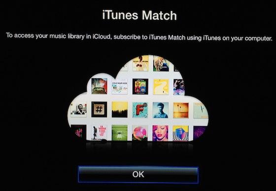 """iTunes Match compare tra il menu della Apple TV nella nuova sezione """"Musica"""""""