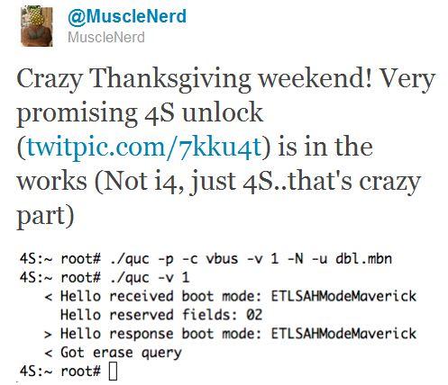 MuscleNerd annuncia di aver trovato un exploit per effettuare l'unlock dell'iPhone 4S
