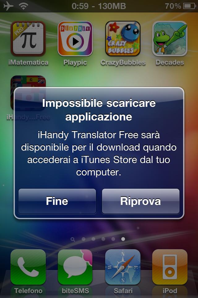 Impossibile scaricare app iphone