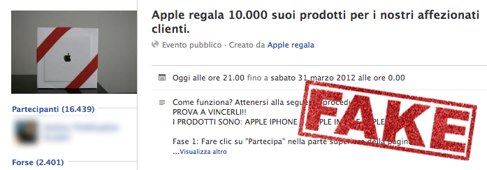 facebook fake apple-ispazio