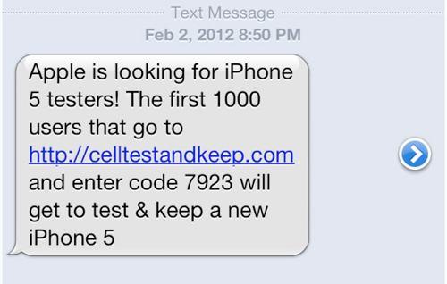 Attenzione: un messaggio di Spam invita gli utenti a testare l'iPhone 5!