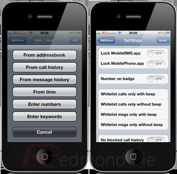 SMSNinja per iPhone blocca SMS e chiamate indesiderate   Cydia