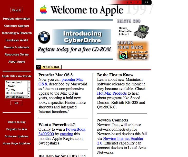 Facciamo un salto nel passato: ecco l'evoluzione dell'home page del sito Apple | Curiosità