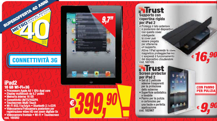 Metro: iPhone 4S a 519€, iPod touch 4G a 159€ e iPad 2 WiFi+3G a 399 ...