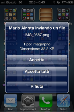 AirBlue Sharing-iSpazio-accetta trasferimento