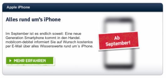 iPhone a Settembre secondo Mobilcom Debitel