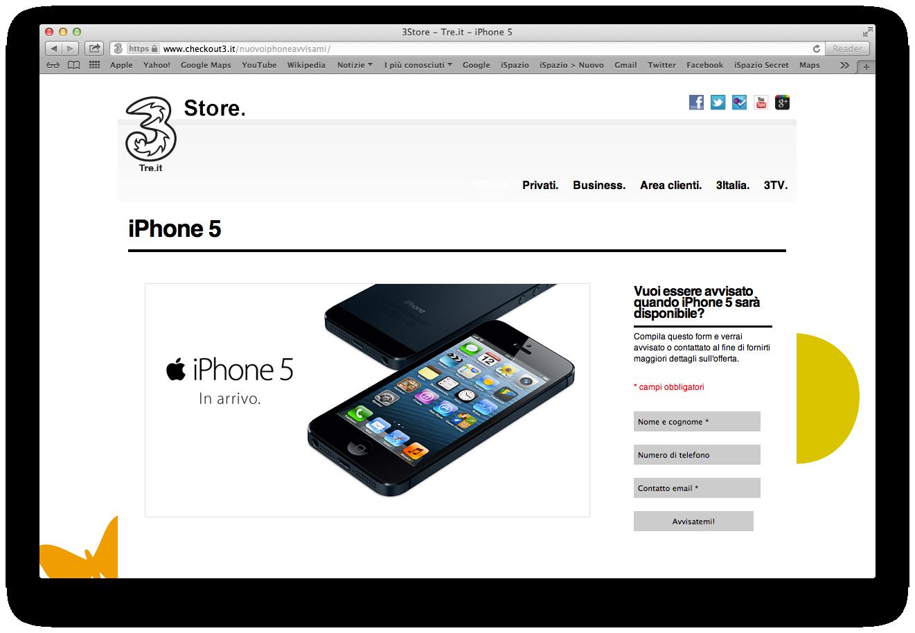 3Italia, Vodafone e Tim lanciano le pagine che permettono di essere avvisati sull'inizio delle prenotazioni di iPhone 5.