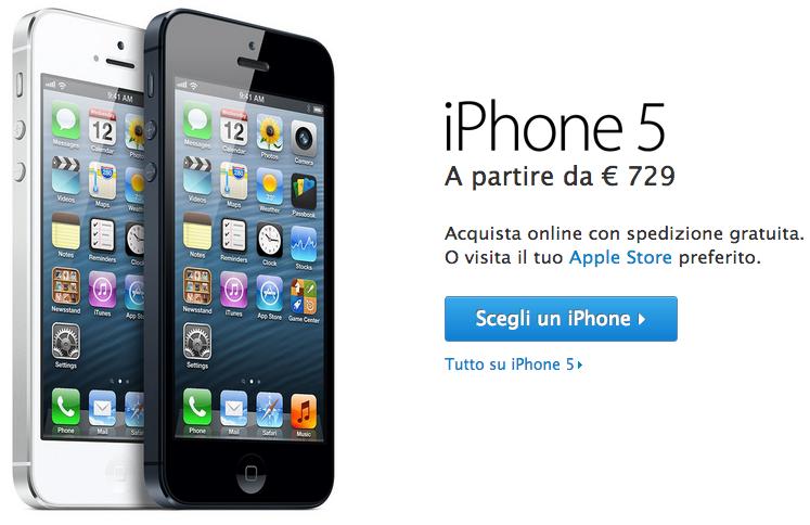 E' finalmente possibile acquistare l'iPhone 5 sul sito ufficiale Apple!