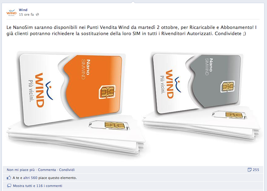 Wind conferma la disponibilità delle Nano SIM a partire dal 2 Ottobre!
