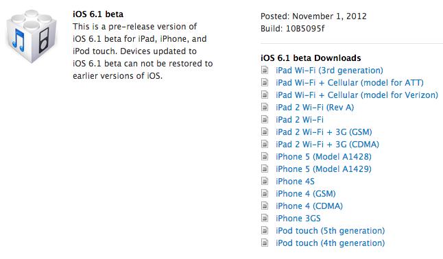 Apple rilascia la prima Beta di iOS 6.1 per gli sviluppatori