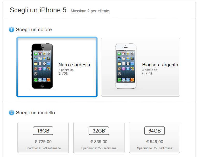 iphone 5 disponibilità