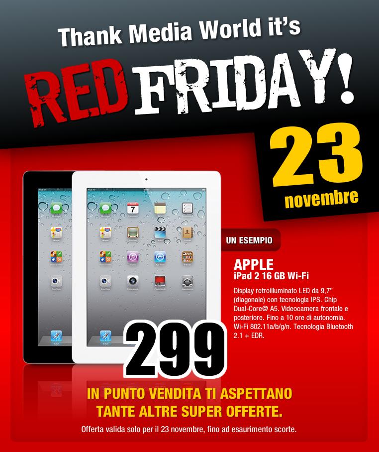 Il Black Friday non vi soddisfa? MediaWorld fa il Red Friday!