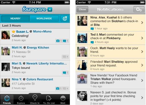 Foursquare-Notification-Screen