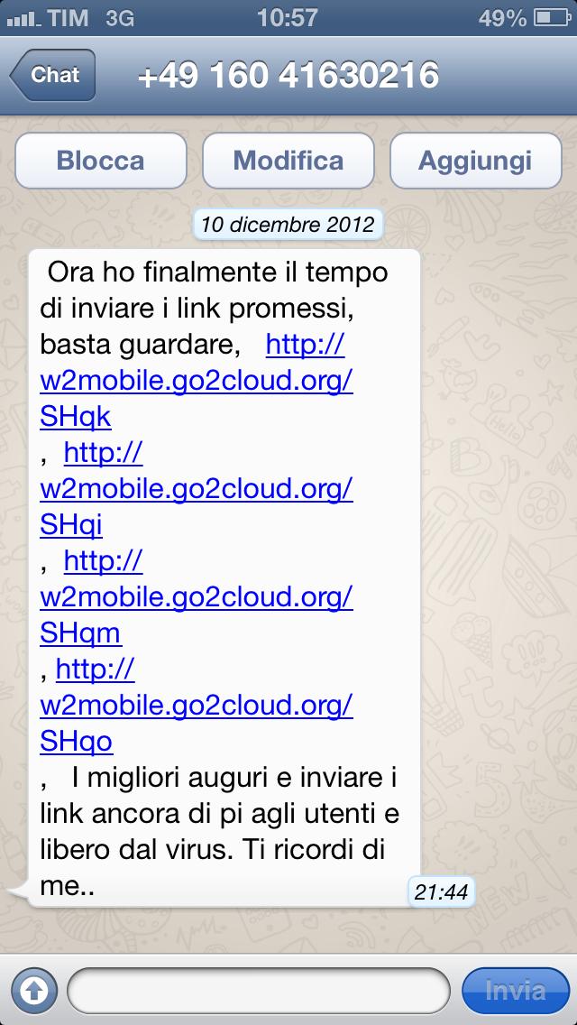Attenzione A Whatsapp Spam Con Link Pericolosi Da Mittenti Non
