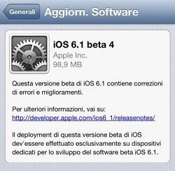 La Beta 4 di iOS 6.1 scade fra sei giorni! Previsto il rilascio ufficiale entro la fine della settimana?