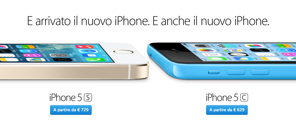 Apple finalmente pubblica sull'Online Store i prezzi italiani di iPhone 5S ed iPhone 5C