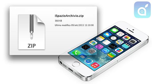 Novità iOS 7: supporto nativo ad archivi compressi su iPhone ed iPad