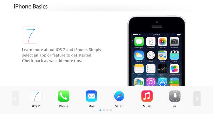 Apple rinnova la pagina del Supporto iPhone con una nuova grafica stile iOS 7!