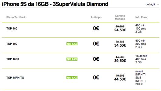 3supervaluta diamond iphone 5s da 16GB