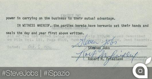 0 dollari per la firma di Steve Jobs in un documento del 1978