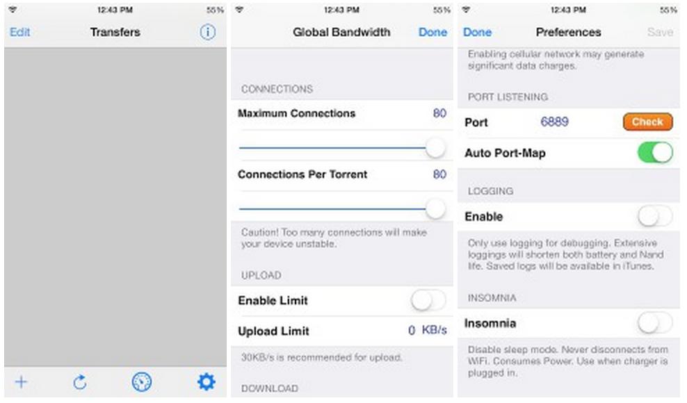 iTransmission 4: il client BitTorrent nativo per iOS 7