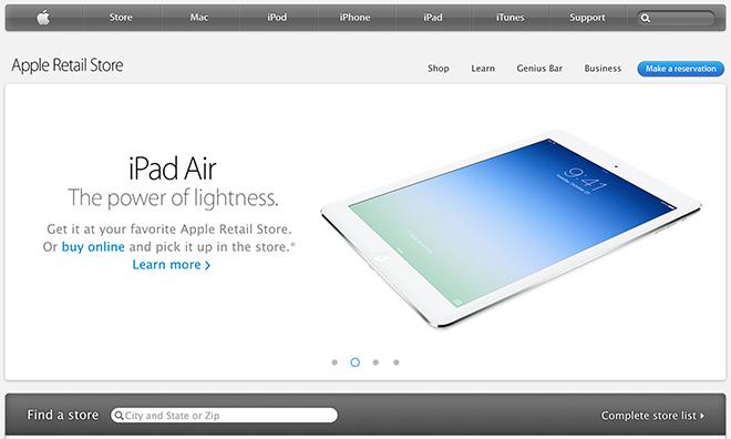Apple aggiorna la sezione Retail del sito ufficiale con una grafica in stile iOS 7