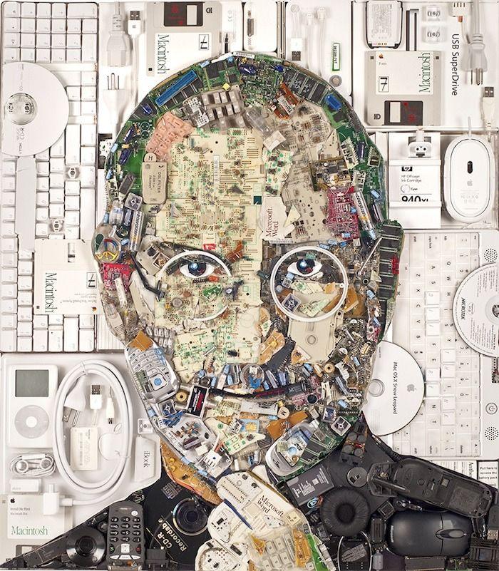 Creato un ritratto di Steve Jobs con 10 Kg di componenti e dispositivi elettronici