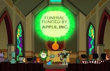 futurama bender apple funeral