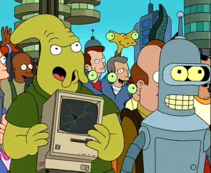 old mac recycling futurama