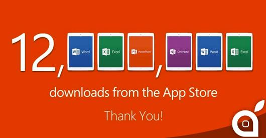 La suite Office ottiene 12 milioni di download da App Store in una settimana: Microsoft ringrazia