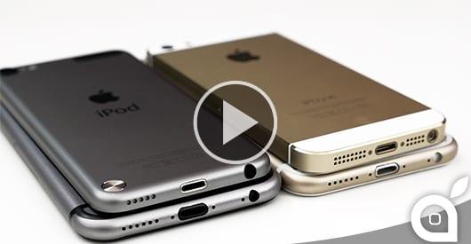 La comparazione definitiva dell'iPhone 6 Gold e Grigio con iPhone 5S ed iPod Touch [Video]