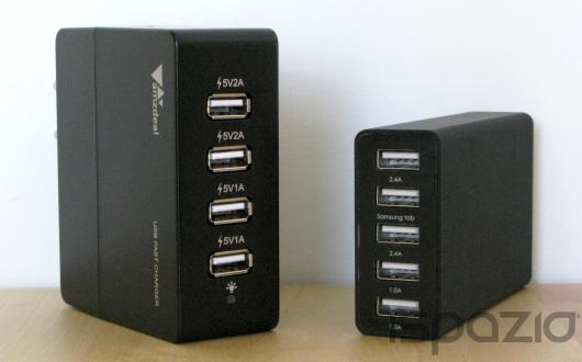 iSpazio sconta i caricabatterie amzdeal: da parete 4 porte USB e da tavolo 5 porte USB – La Recensione di iSpazio