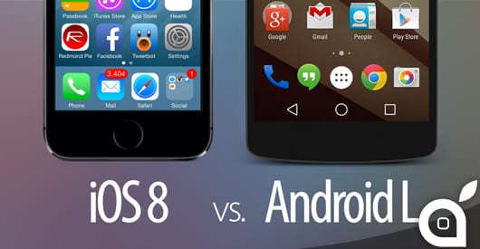 iOS 8 VS Android L: Ecco la comparazione visiva dei due sistemi operativi